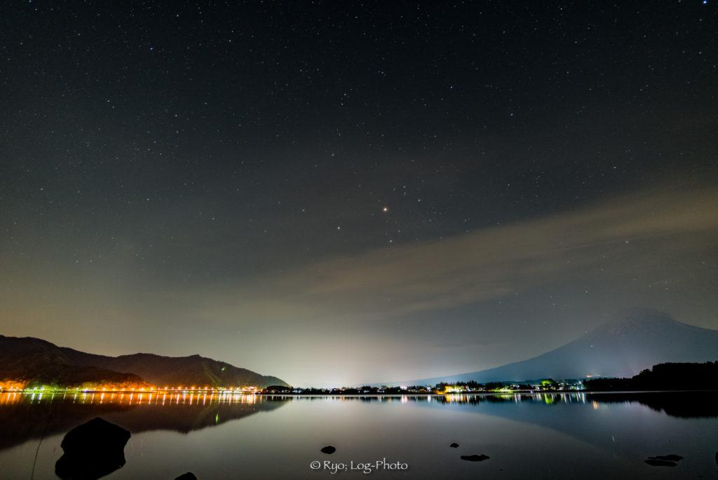 逆さ富士 夜 河口湖 星