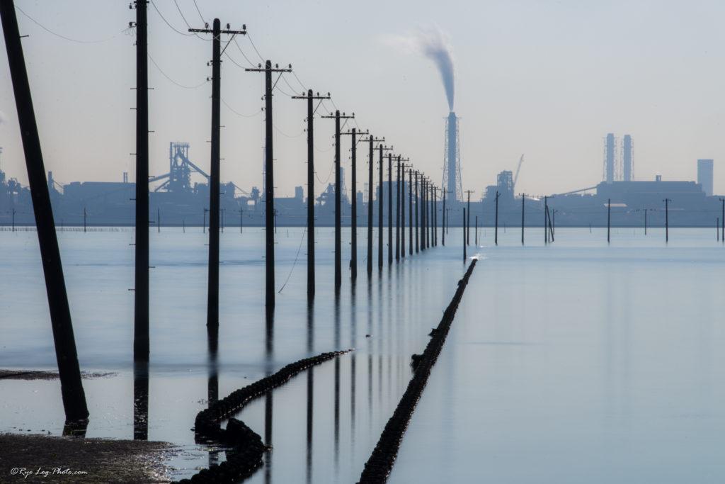 江川海岸 幻想的 電柱