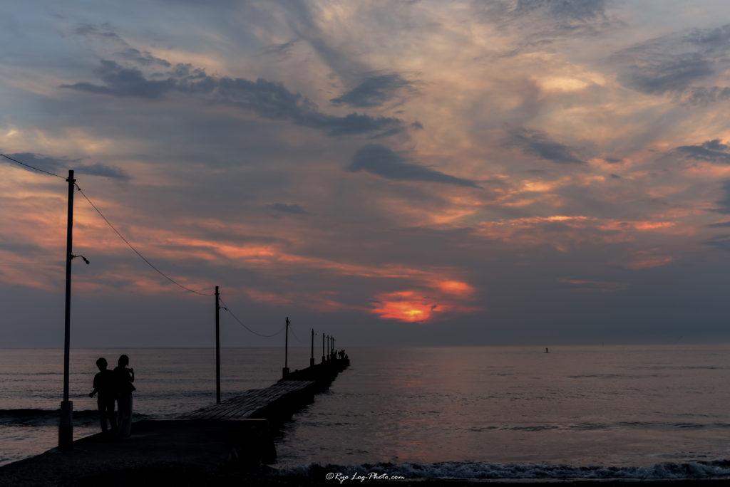 千葉県原岡海岸の夕日