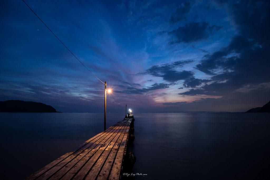 原岡海岸で桟橋と夕景を撮影-12
