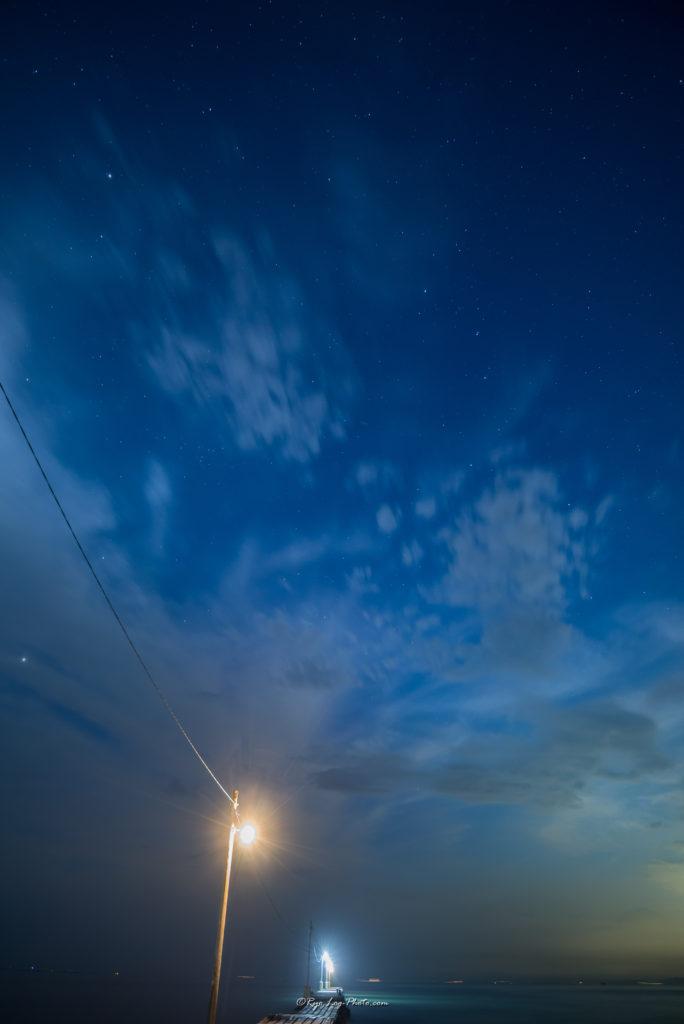 星空 千葉県南房総市 原岡海岸 マジックアワー 桟橋
