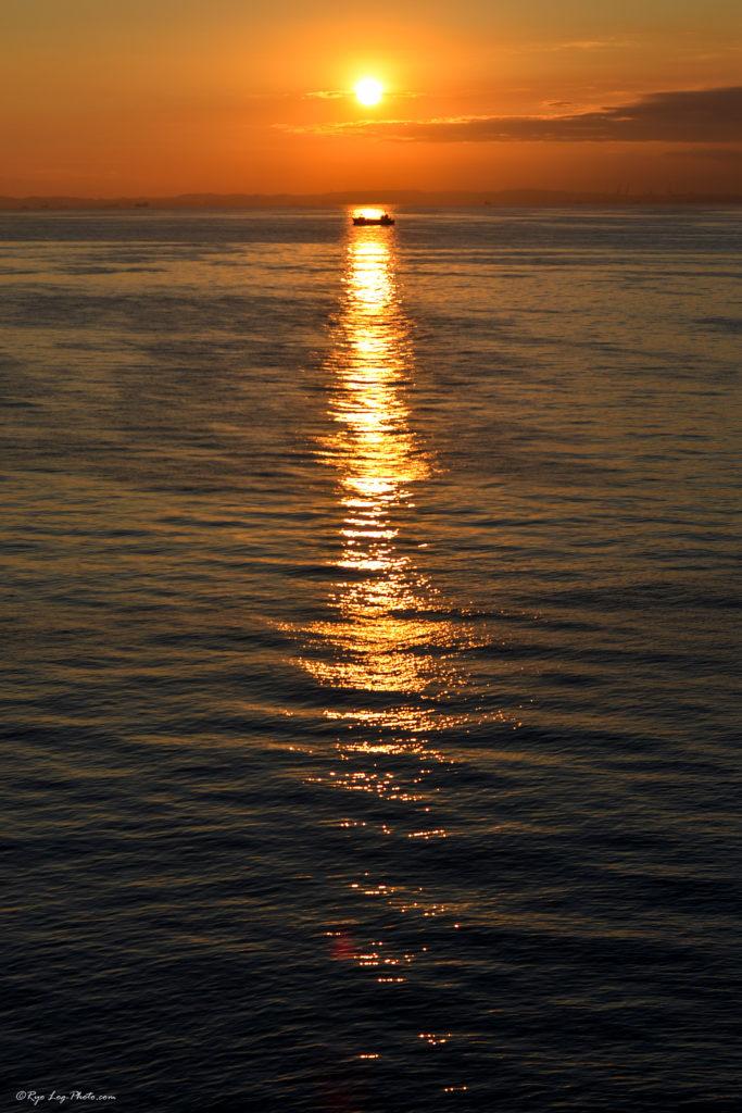 夕日の道 海ほたる 夕日 夜景