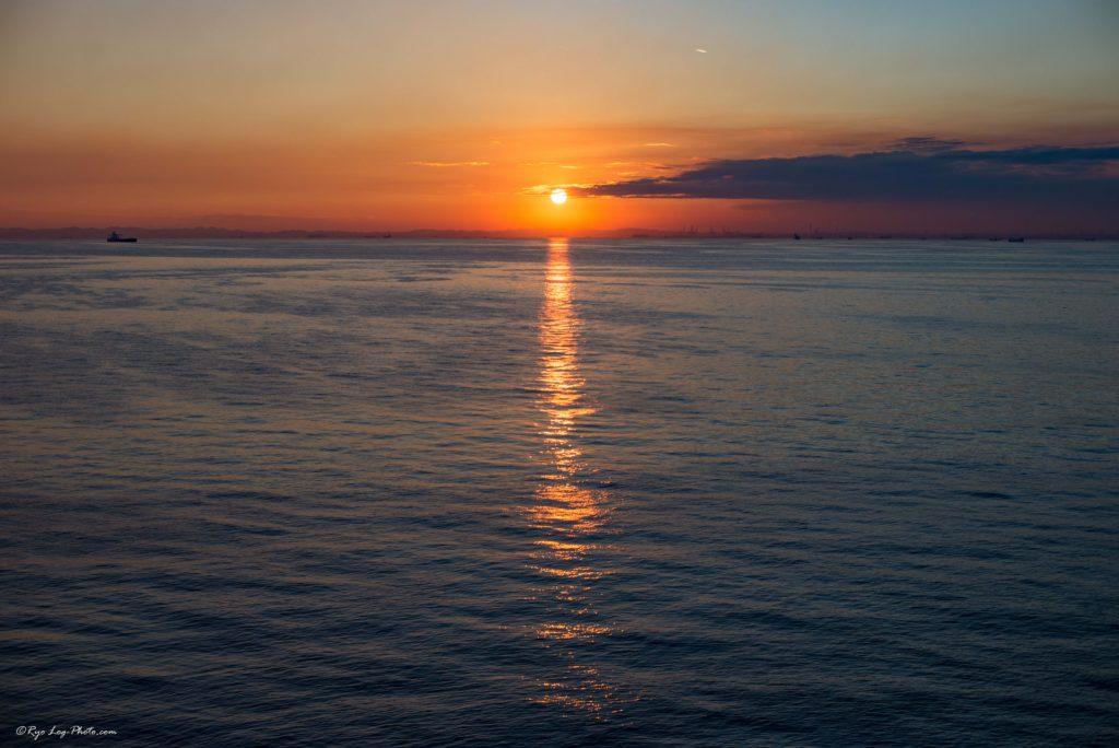 sunset 海ほたる 夕日 夜景