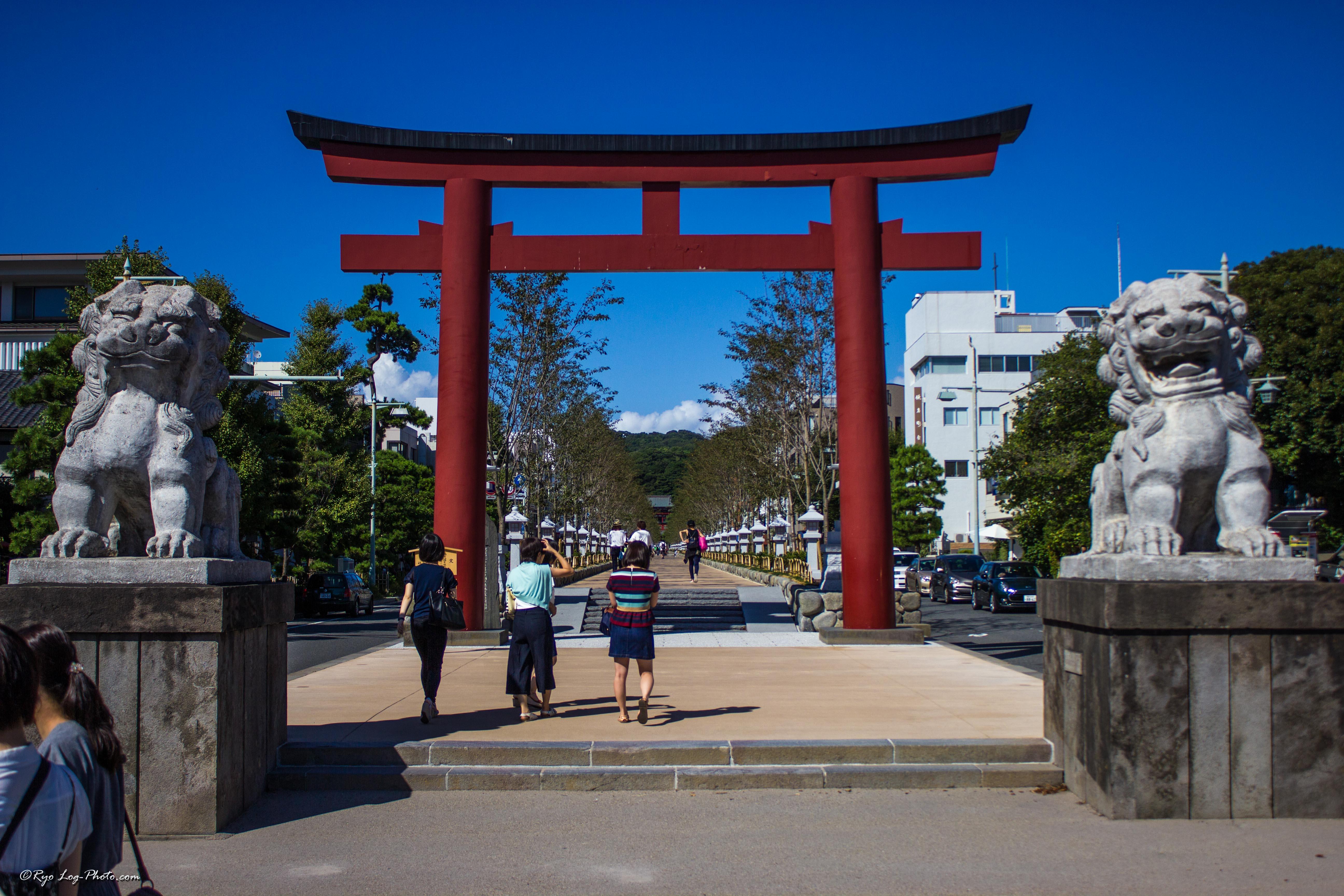鶴岡八幡宮の若宮大路、段葛を歩く。春は桜も。