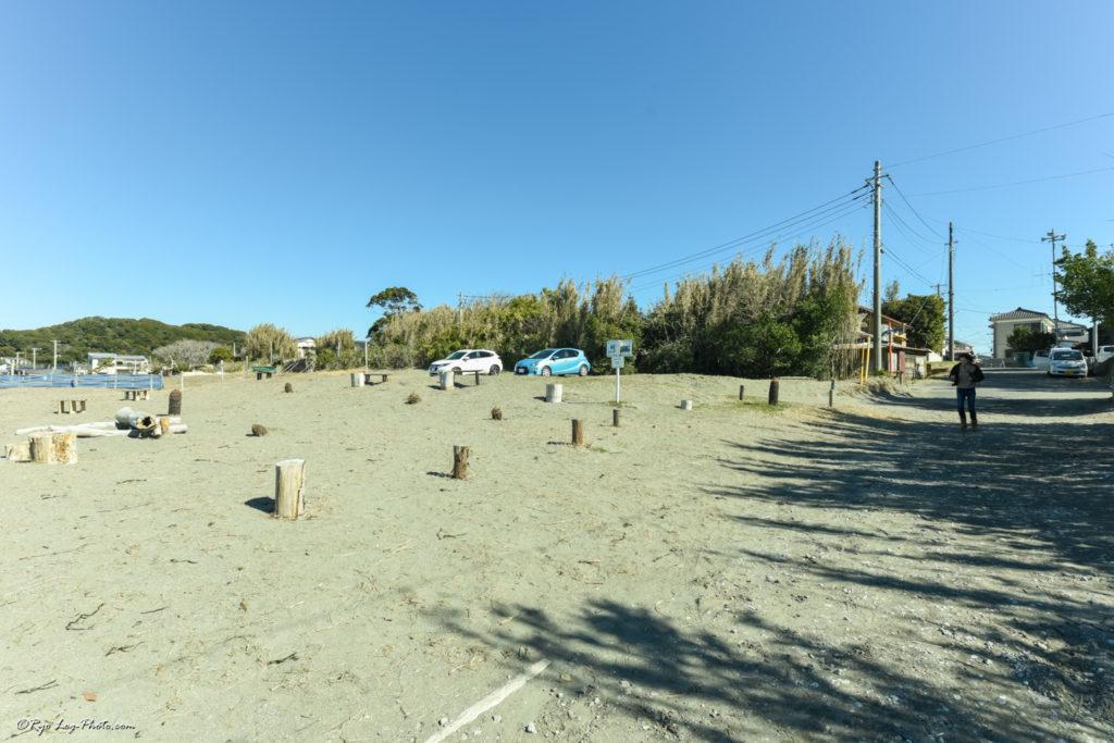 木製 桟橋 千葉 原岡海岸 駐車場