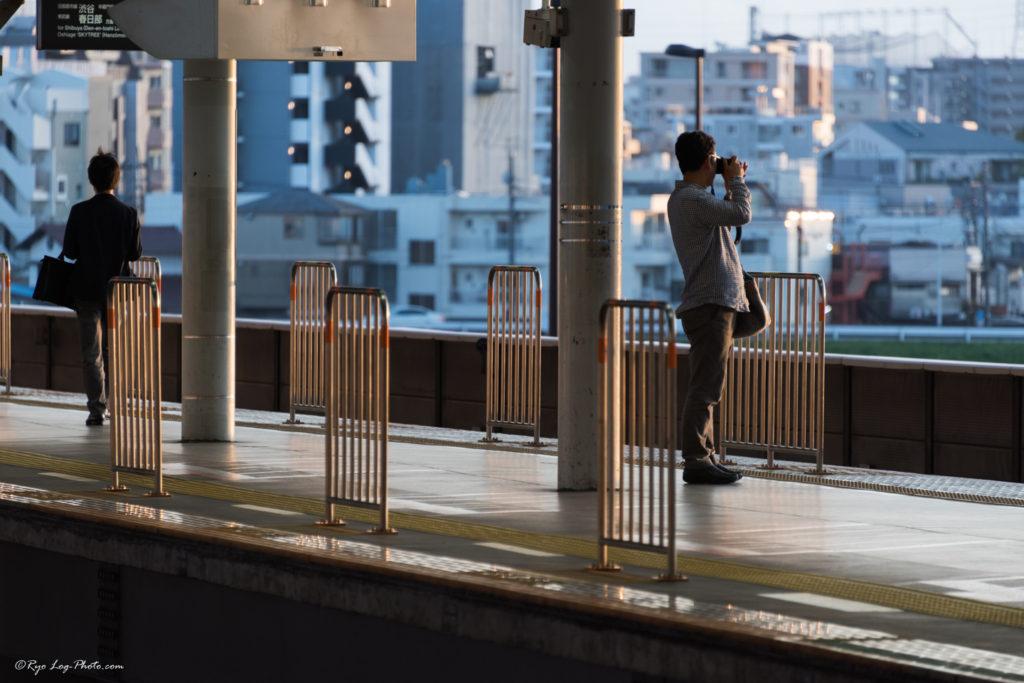 二子玉川駅 夕日 撮影